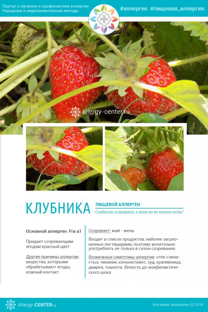 Карточка аллергена из статьи Аллергия на клубнику — опасность вкусной ягоды