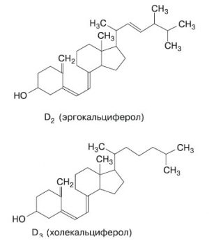 Формулы витаминов Д2 и Д3