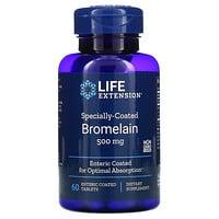 Life Extension, бромелаин, 500 мг, 60 таблеток, покрытых кишечнорастворимой оболочкой